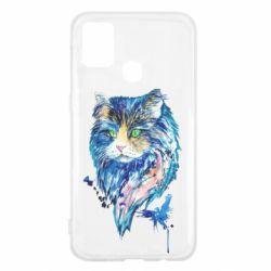 Чехол для Samsung M31 Cat in blue shades of watercolor