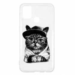 Чохол для Samsung M31 Cat in glasses and a cap