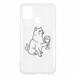 Чохол для Samsung M31 Cat with a glass of wine