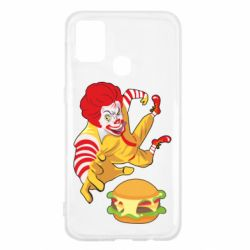 Чехол для Samsung M31 Clown in flight with a burger