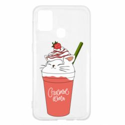 Чехол для Samsung M31 Cocktail cat and strawberry