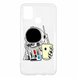 Чехол для Samsung M31 Cosmonaut with a coffee