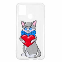 Чехол для Samsung M31 Cute kitten with a heart in its paws