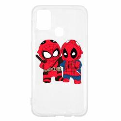 Чехол для Samsung M31 Дэдпул и Человек паук