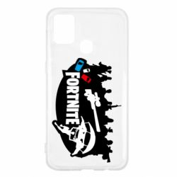 Чехол для Samsung M31 Fortnite logo and heroes