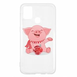 Чохол для Samsung M31 Funny pig with a Christmas toy