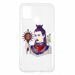 Чехол для Samsung M31 Girl with a crown and a flower on a beard