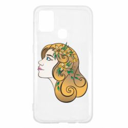Чехол для Samsung M31 Girl with flowers in her hair art
