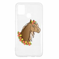 Чехол для Samsung M31 Horse and flowers art