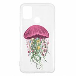 Чехол для Samsung M31 Jellyfish and flowers