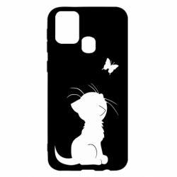 Чохол для Samsung M31 Котик з метеликом