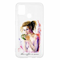Чехол для Samsung M31 Naked girl with coffee