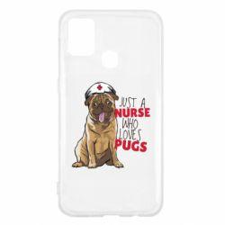 Чехол для Samsung M31 Nurse loves pugs