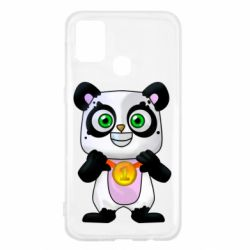Чехол для Samsung M31 Panda with a medal on his chest