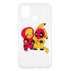 Чехол для Samsung M31 Pikachu and deadpool