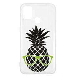 Чехол для Samsung M31 Pineapple with glasses