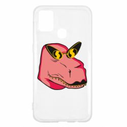 Чохол для Samsung M31 Pink dinosaur with glasses head