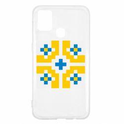 Чехол для Samsung M31 Pixel pattern blue and yellow