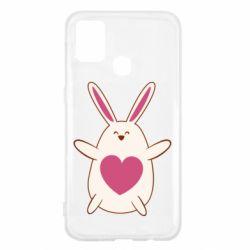 Чехол для Samsung M31 Rabbit with a pink heart