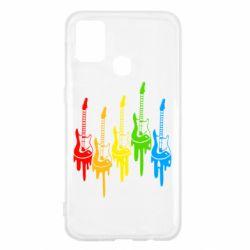 Чехол для Samsung M31 Разноцветные гитары