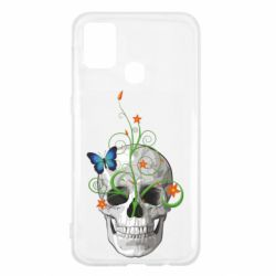 Чехол для Samsung M31 Skull and green flower