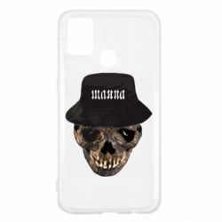 Чехол для Samsung M31 Skull in hat and text
