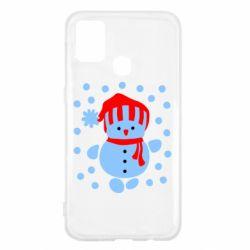 Чехол для Samsung M31 Снеговик в шапке