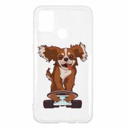 Чехол для Samsung M31 Собака Кавалер на Скейте