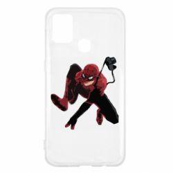 Чехол для Samsung M31 Spiderman flat vector
