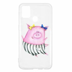 Чехол для Samsung M31 Watercolor Pig with paper texture