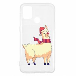 Чехол для Samsung M31 Yellow llama in a scarf and red nose