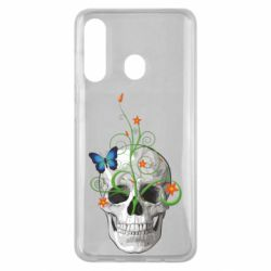Чехол для Samsung M40 Skull and green flower