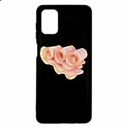 Чехол для Samsung M51 Bacon with flowers on the background
