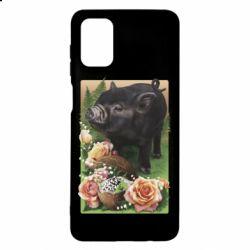 Чехол для Samsung M51 Black pig and flowers