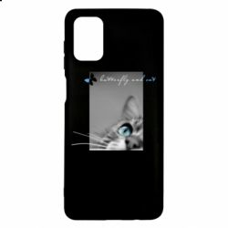 Чохол для Samsung M51 Butterfly and cat with blur effect