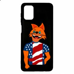 Чехол для Samsung M51 Cat in American Flag T-shirt