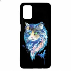 Чехол для Samsung M51 Cat in blue shades of watercolor