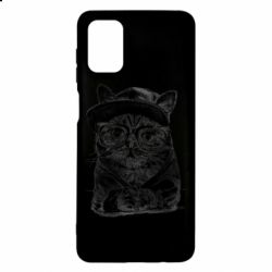Чохол для Samsung M51 Cat in glasses and a cap