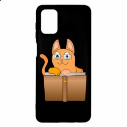Чехол для Samsung M51 Cat in glasses with a book