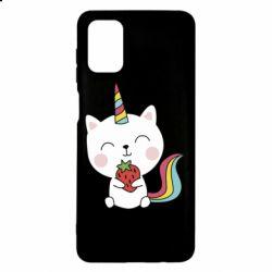 Чохол для Samsung M51 Cat unicorn and strawberries
