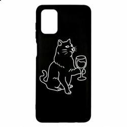 Чохол для Samsung M51 Cat with a glass of wine