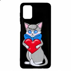 Чехол для Samsung M51 Cute kitten with a heart in its paws