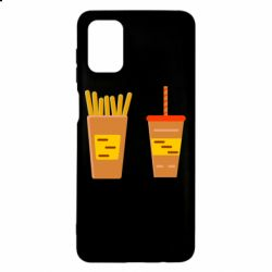 Чехол для Samsung M51 French fries and cocktail flat vector
