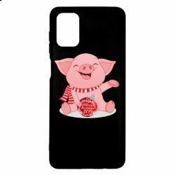 Чохол для Samsung M51 Funny pig with a Christmas toy