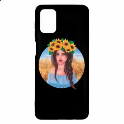 Чехол для Samsung M51 Girl in a wreath of sunflowers