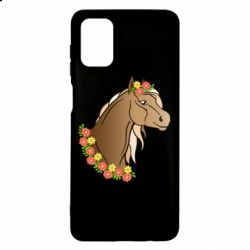 Чехол для Samsung M51 Horse and flowers art