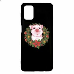 Чохол для Samsung M51 Pig with a Christmas wreath