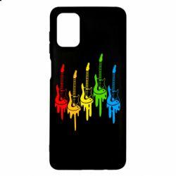 Чехол для Samsung M51 Разноцветные гитары