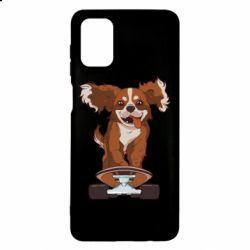 Чехол для Samsung M51 Собака Кавалер на Скейте