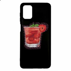 Чехол для Samsung M51 Strawberry cocktail on a background of flowers